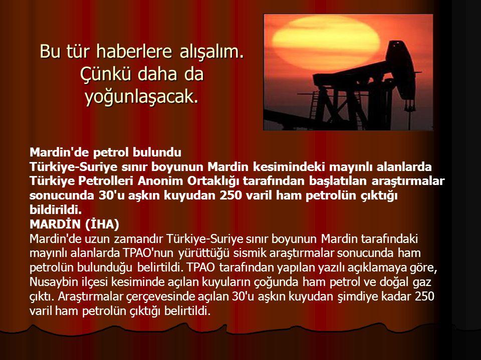 Bu tür haberlere alışalım. Çünkü daha da yoğunlaşacak. Mardin'de petrol bulundu Türkiye-Suriye sınır boyunun Mardin kesimindeki mayınlı alanlarda Türk