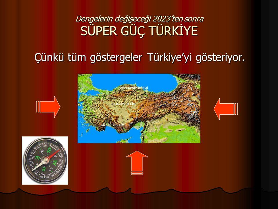 Dengelerin değişeceği 2023'ten sonra SÜPER GÜÇ TÜRKİYE Çünkü tüm göstergeler Türkiye'yi gösteriyor.