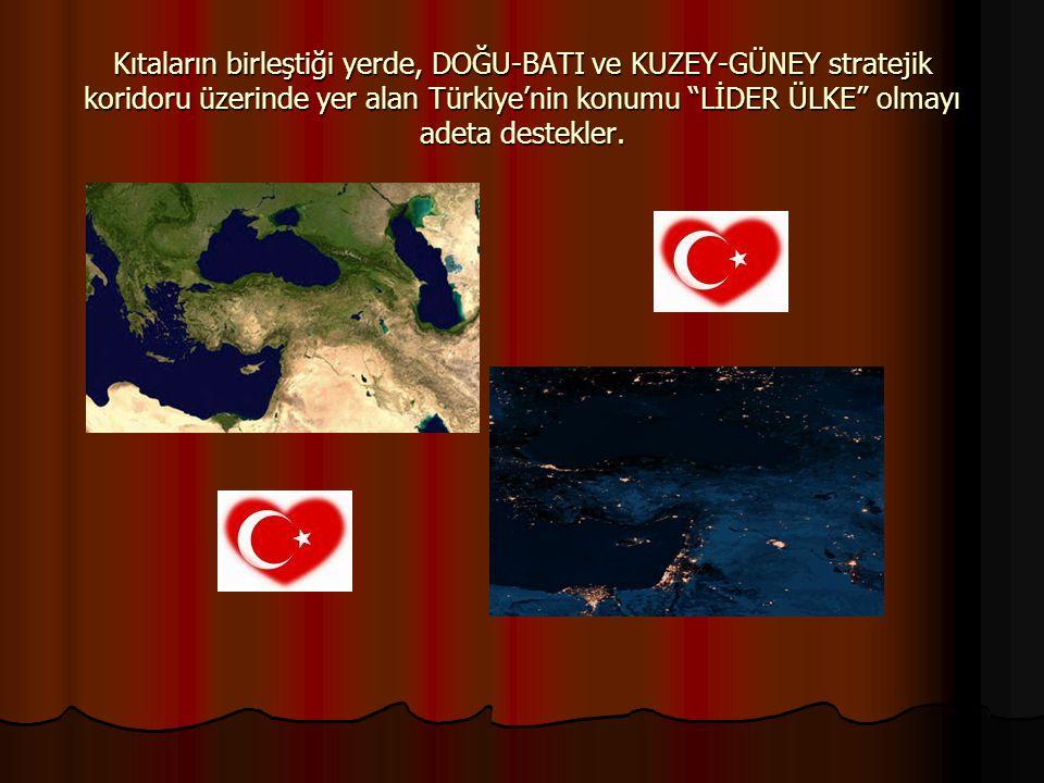 """Kıtaların birleştiği yerde, DOĞU-BATI ve KUZEY-GÜNEY stratejik koridoru üzerinde yer alan Türkiye'nin konumu """"LİDER ÜLKE"""" olmayı adeta destekler."""