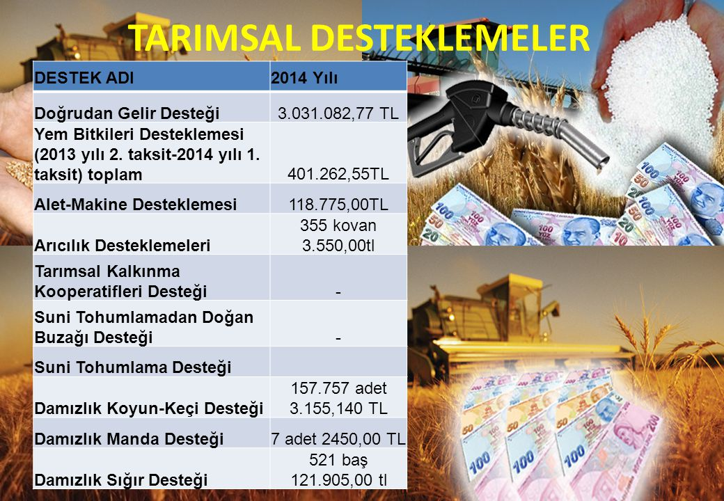 DESTEK ADI2014 Yılı Doğrudan Gelir Desteği3.031.082,77 TL Yem Bitkileri Desteklemesi (2013 yılı 2.