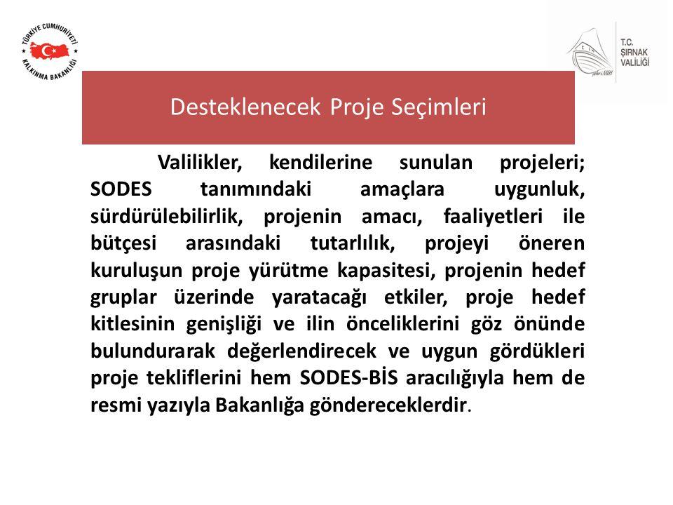Valilikler, kendilerine sunulan projeleri; SODES tanımındaki amaçlara uygunluk, sürdürülebilirlik, projenin amacı, faaliyetleri ile bütçesi arasındaki tutarlılık, projeyi öneren kuruluşun proje yürütme kapasitesi, projenin hedef gruplar üzerinde yaratacağı etkiler, proje hedef kitlesinin genişliği ve ilin önceliklerini göz önünde bulundurarak değerlendirecek ve uygun gördükleri proje tekliflerini hem SODES-BİS aracılığıyla hem de resmi yazıyla Bakanlığa göndereceklerdir.