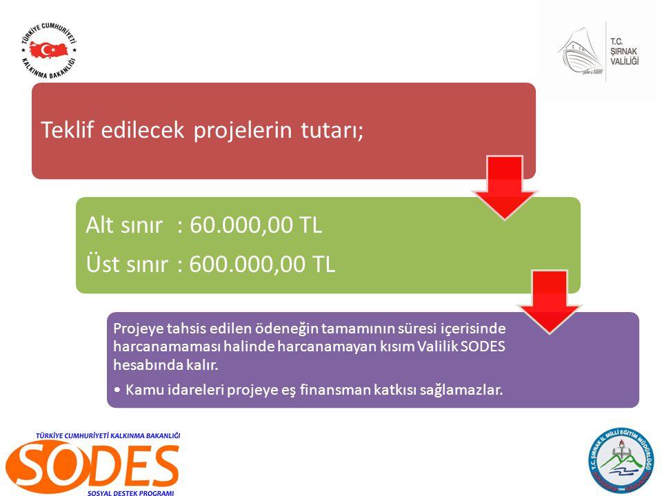 Teklif edilecek projelerin tutarı; Alt sınır : 60.000,00 TL Üst sınır : 600.000,00 TL Projeye tahsis edilen ödeneğin tamamının süresi içerisinde harcanamaması halinde harcanamayan kısım Valilik SODES hesabında kalır.