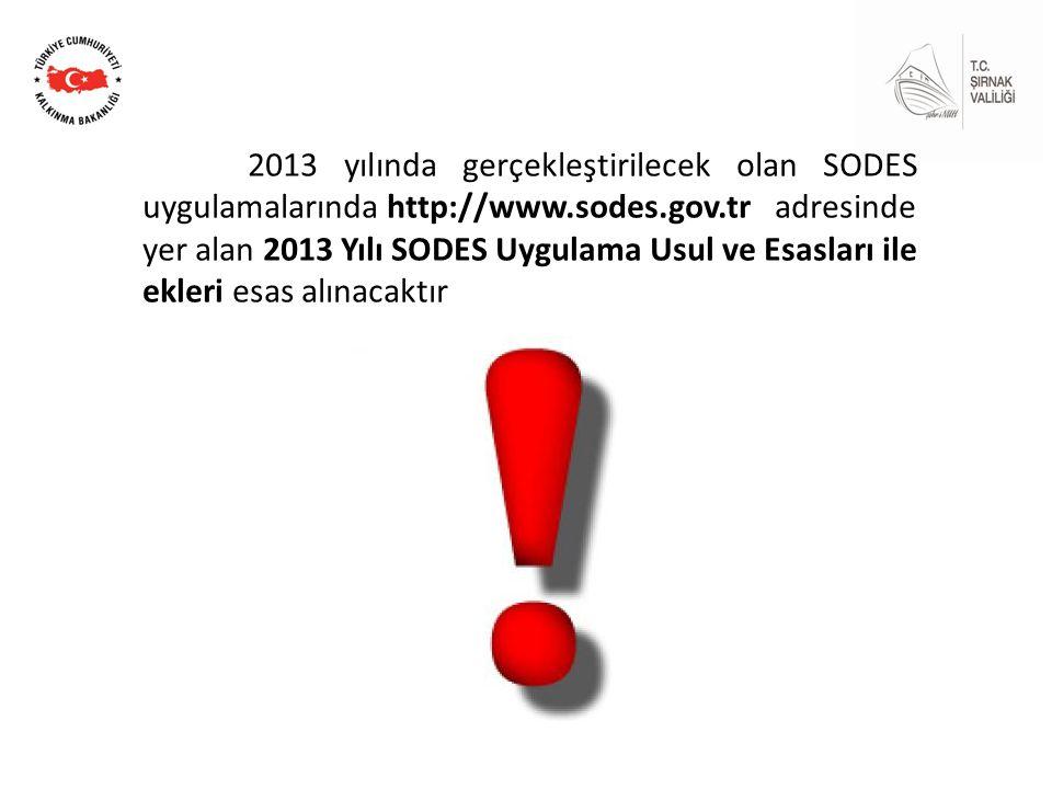 2013 yılında gerçekleştirilecek olan SODES uygulamalarında http://www.sodes.gov.tr adresinde yer alan 2013 Yılı SODES Uygulama Usul ve Esasları ile ekleri esas alınacaktır