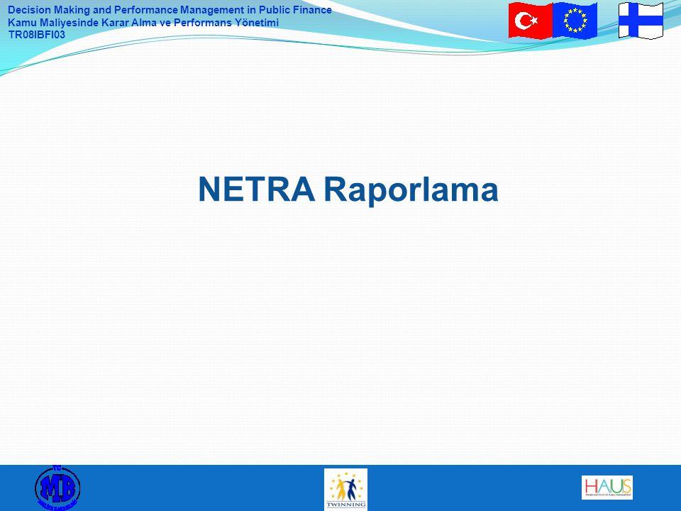 Decision Making and Performance Management in Public Finance Kamu Maliyesinde Karar Alma ve Performans Yönetimi TR08IBFI03 NETRA Raporlama