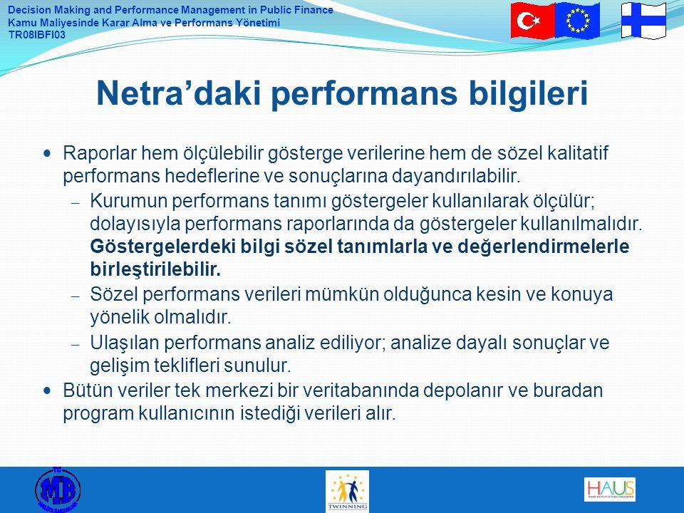 Decision Making and Performance Management in Public Finance Kamu Maliyesinde Karar Alma ve Performans Yönetimi TR08IBFI03 Raporlar hem ölçülebilir gö