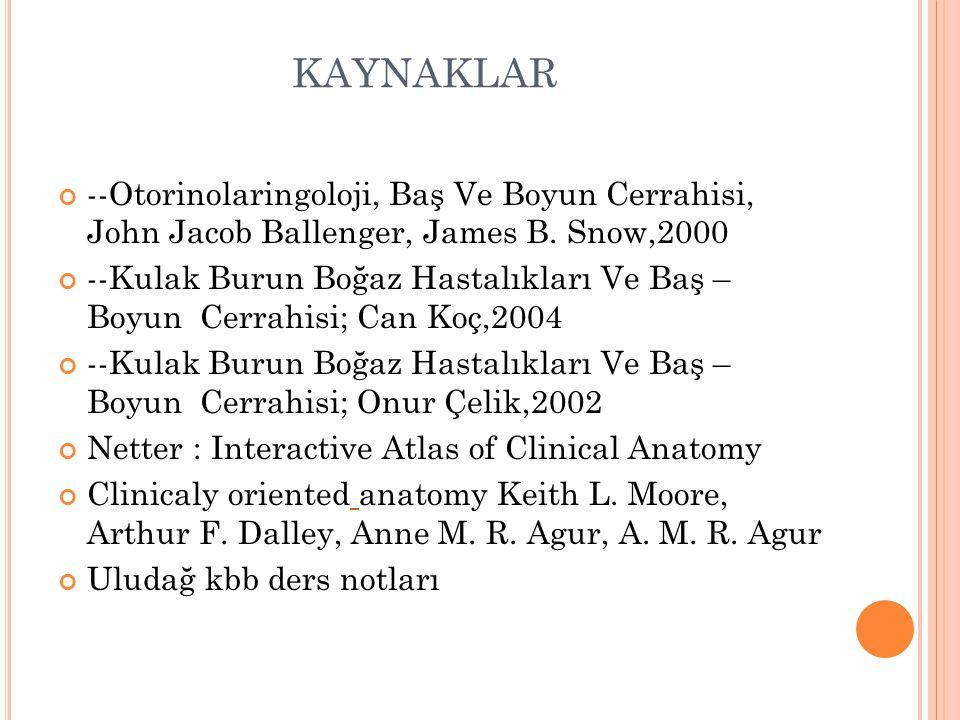 KAYNAKLAR --Otorinolaringoloji, Baş Ve Boyun Cerrahisi, John Jacob Ballenger, James B.