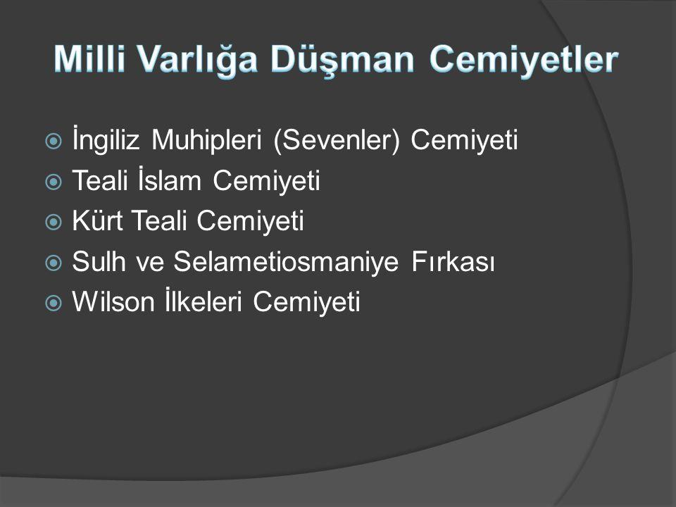  İngiliz Muhipleri (Sevenler) Cemiyeti  Teali İslam Cemiyeti  Kürt Teali Cemiyeti  Sulh ve Selametiosmaniye Fırkası  Wilson İlkeleri Cemiyeti