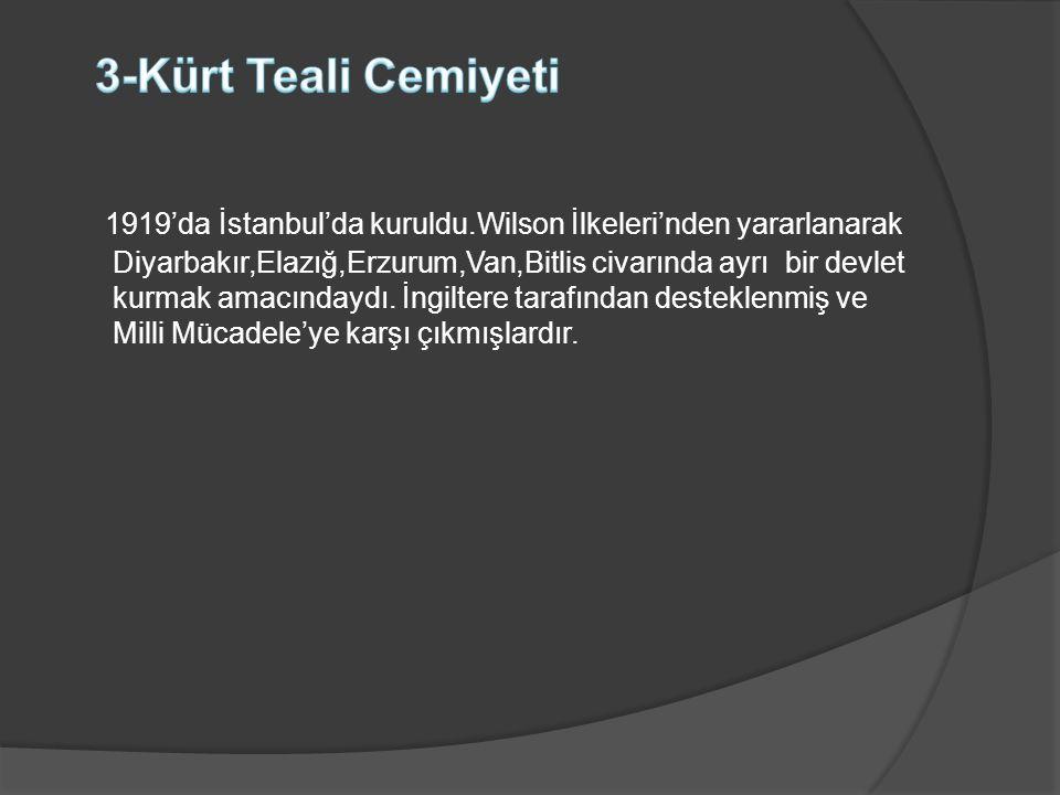 1919'da İstanbul'da kuruldu.Wilson İlkeleri'nden yararlanarak Diyarbakır,Elazığ,Erzurum,Van,Bitlis civarında ayrı bir devlet kurmak amacındaydı. İngil