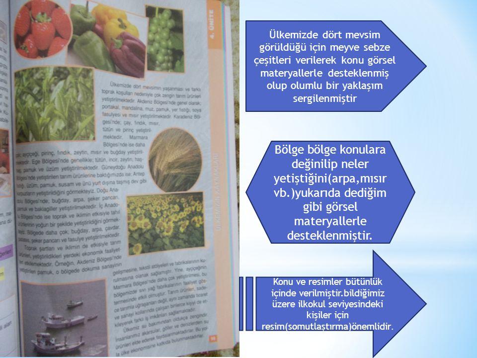 Ülkemizde dört mevsim görüldüğü için meyve sebze çeşitleri verilerek konu görsel materyallerle desteklenmiş olup olumlu bir yaklaşım sergilenmiştir Bölge bölge konulara değinilip neler yetiştiğini(arpa,mısır vb.)yukarıda dediğim gibi görsel materyallerle desteklenmiştir.