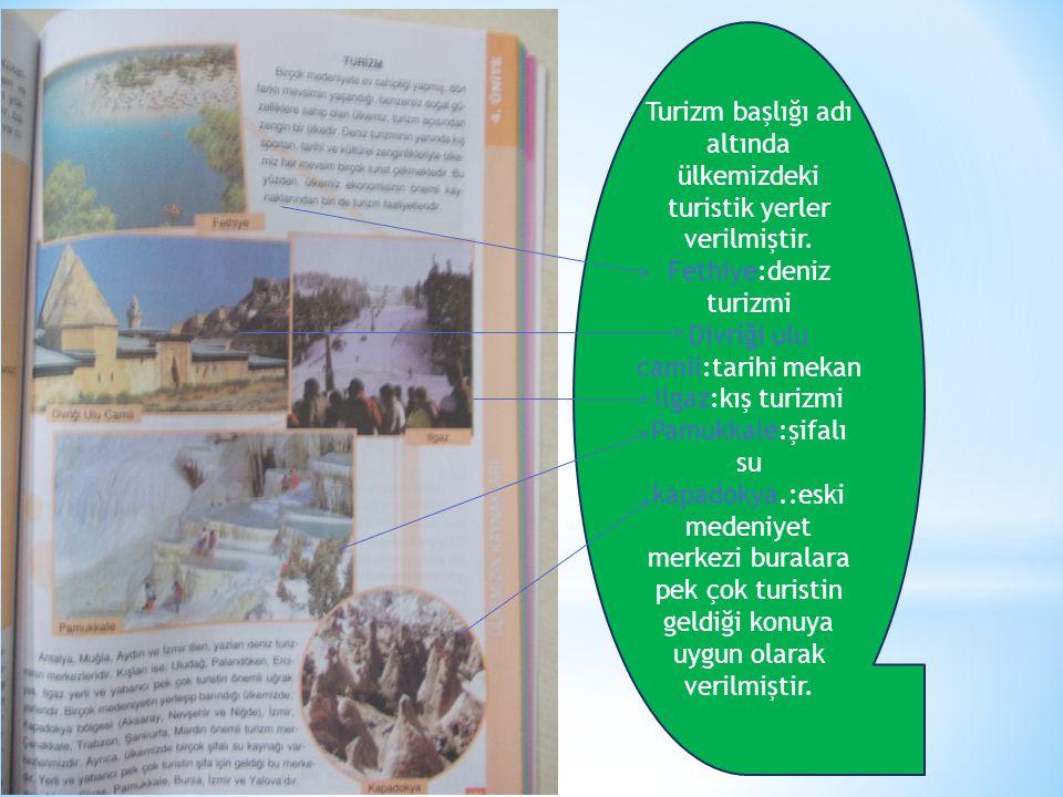 Turizm başlığı adı altında ülkemizdeki turistik yerler verilmiştir.
