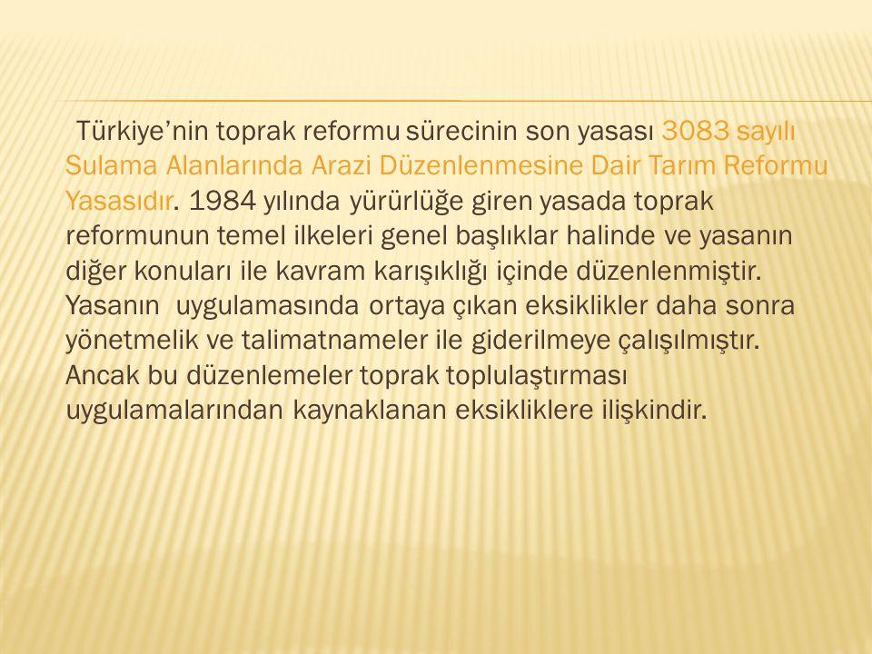 Türkiye'nin toprak reformu sürecinin son yasası 3083 sayılı Sulama Alanlarında Arazi Düzenlenmesine Dair Tarım Reformu Yasasıdır. 1984 yılında yürürlü