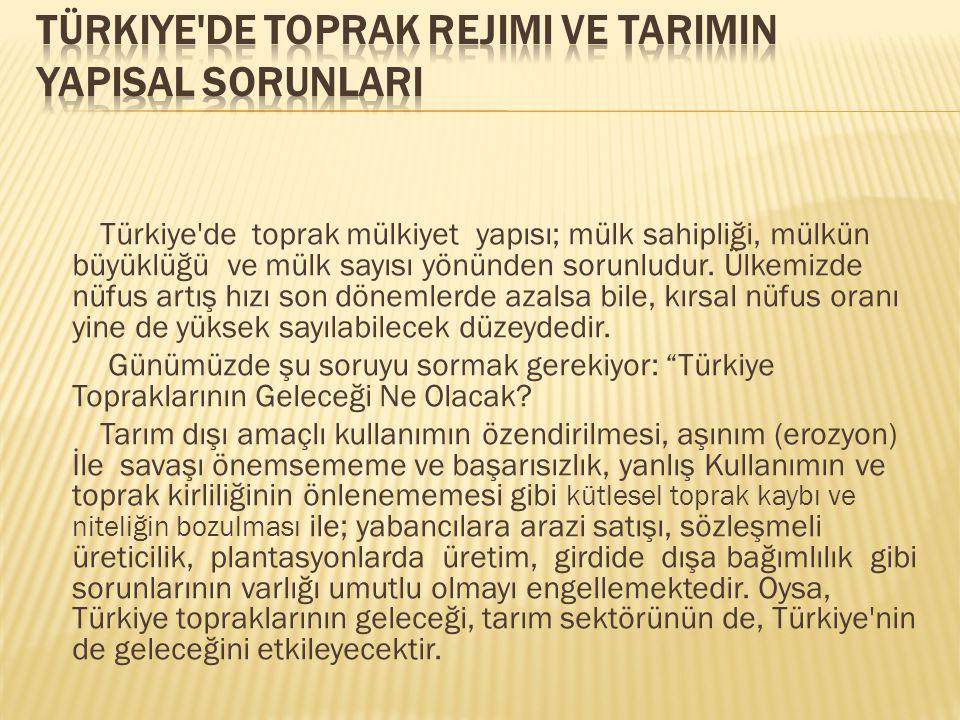Türkiye'de toprak mülkiyet yapısı; mülk sahipliği, mülkün büyüklüğü ve mülk sayısı yönünden sorunludur. Ülkemizde nüfus artış hızı son dönemlerde azal