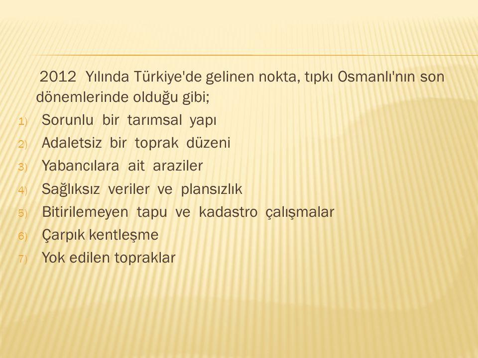 2012 Yılında Türkiye'de gelinen nokta, tıpkı Osmanlı'nın son dönemlerinde olduğu gibi; 1) Sorunlu bir tarımsal yapı 2) Adaletsiz bir toprak düzeni 3)