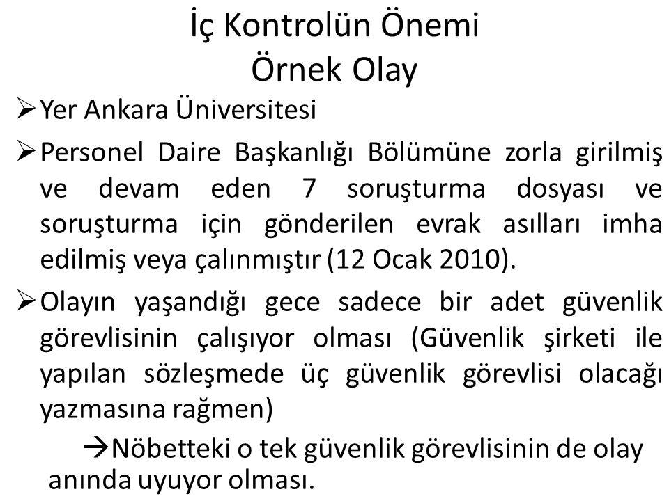 İç Kontrolün Önemi Örnek Olay  Yer Ankara Üniversitesi  Personel Daire Başkanlığı Bölümüne zorla girilmiş ve devam eden 7 soruşturma dosyası ve soruşturma için gönderilen evrak asılları imha edilmiş veya çalınmıştır (12 Ocak 2010).