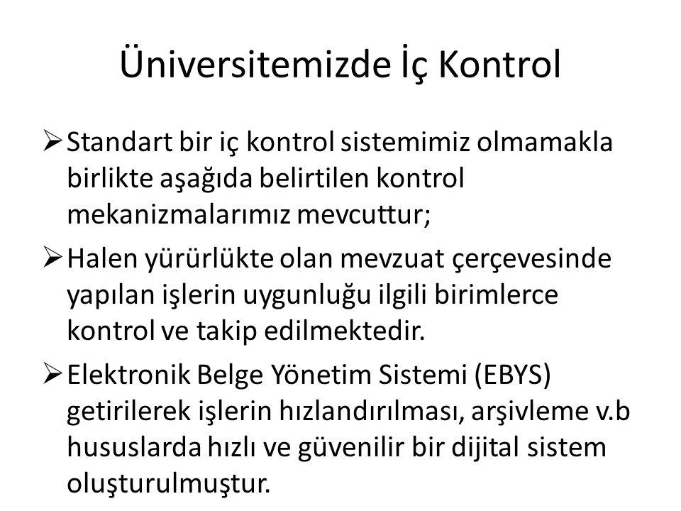Üniversitemizde İç Kontrol  Standart bir iç kontrol sistemimiz olmamakla birlikte aşağıda belirtilen kontrol mekanizmalarımız mevcuttur;  Halen yürü