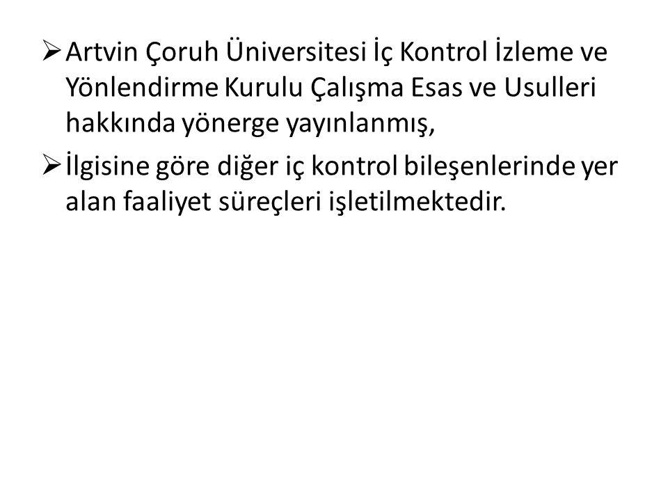  Artvin Çoruh Üniversitesi İç Kontrol İzleme ve Yönlendirme Kurulu Çalışma Esas ve Usulleri hakkında yönerge yayınlanmış,  İlgisine göre diğer iç kontrol bileşenlerinde yer alan faaliyet süreçleri işletilmektedir.