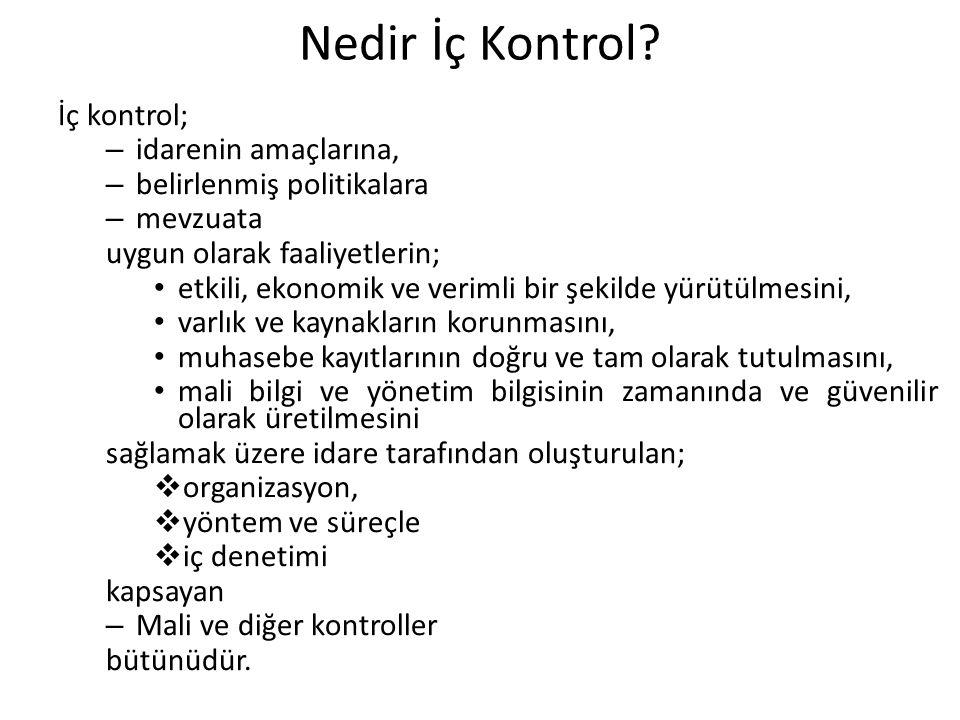 Nedir İç Kontrol? İç kontrol; – idarenin amaçlarına, – belirlenmiş politikalara – mevzuata uygun olarak faaliyetlerin; etkili, ekonomik ve verimli bir