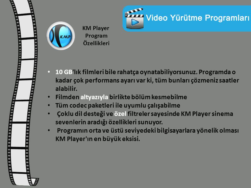 KM Player Program Özellikleri 10 GB'lık filmleri bile rahatça oynatabiliyorsunuz. Programda o kadar çok performans ayarı var ki, tüm bunları çözmeniz