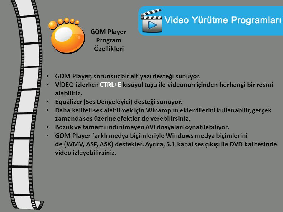 GOM Player Program Özellikleri GOM Player, sorunsuz bir alt yazı desteği sunuyor. VİDEO izlerken CTRL+E kısayol tuşu ile videonun içinden herhangi bir