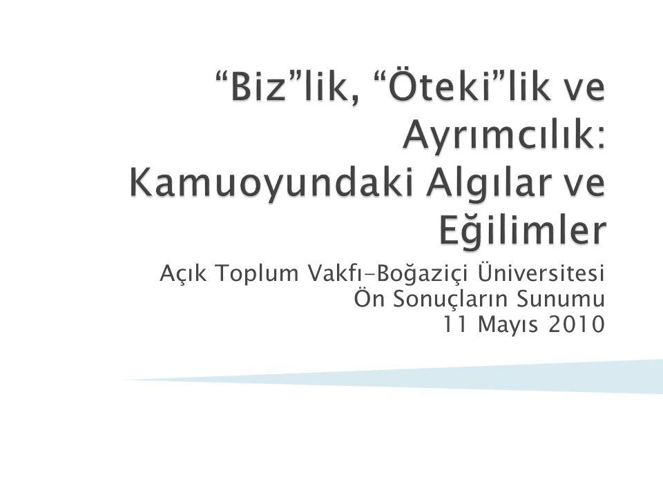 Açık Toplum Vakfı-Boğaziçi Üniversitesi Ön Sonuçların Sunumu 11 Mayıs 2010