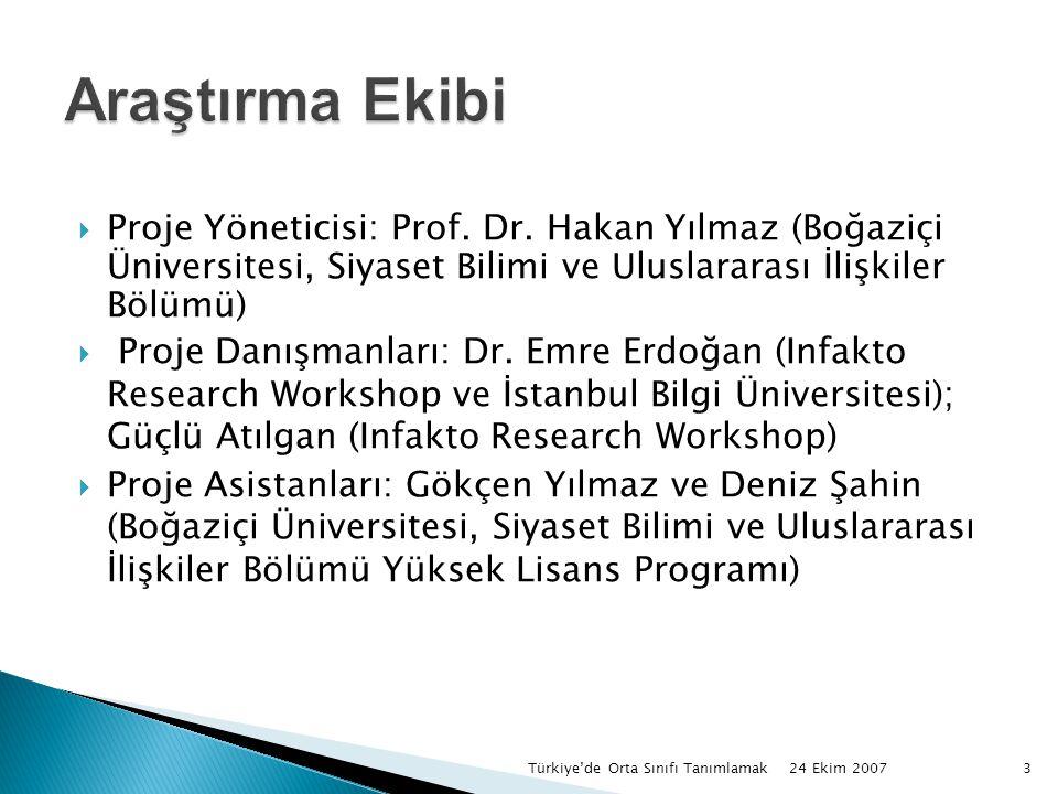 24 Ekim 2007 Türkiye'de Orta Sınıfı Tanımlamak3  Proje Yöneticisi: Prof.