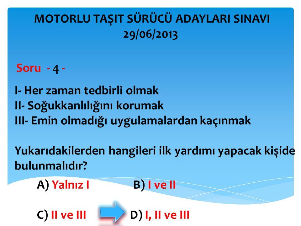 İBRAHİM YALÇIN MOTORLU TAŞIT SÜRÜCÜ ADAYLARI SINAVI 29/06/2013 Şekle göre aşağıdakilerden hangisi yasaktır.