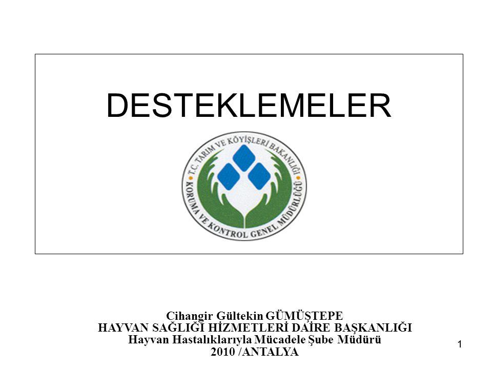 11 DESTEKLEMELER Cihangir Gültekin GÜMÜŞTEPE HAYVAN SAĞLIĞI HİZMETLERİ DAİRE BAŞKANLIĞI Hayvan Hastalıklarıyla Mücadele Şube Müdürü 2010 /ANTALYA