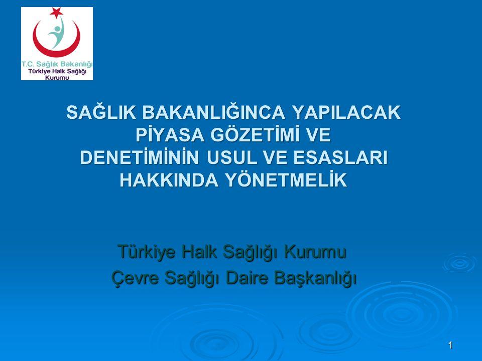 SAĞLIK BAKANLIĞINCA YAPILACAK PİYASA GÖZETİMİ VE DENETİMİNİN USUL VE ESASLARI HAKKINDA YÖNETMELİK Türkiye Halk Sağlığı Kurumu Çevre Sağlığı Daire Başk