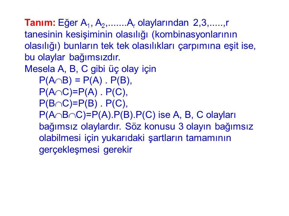 Tanım: Eğer A 1, A 2,.......A r olaylarından 2,3,.....,r tanesinin kesişiminin olasılığı (kombinasyonlarının olasılığı) bunların tek tek olasılıkları