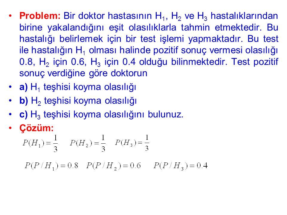 Problem: Bir doktor hastasının H 1, H 2 ve H 3 hastalıklarından birine yakalandığını eşit olasılıklarla tahmin etmektedir.