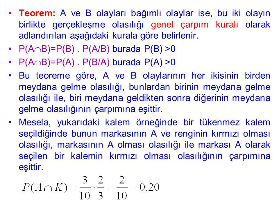 Teorem: A ve B olayları bağımlı olaylar ise, bu iki olayın birlikte gerçekleşme olasılığı genel çarpım kuralı olarak adlandırılan aşağıdaki kurala gör