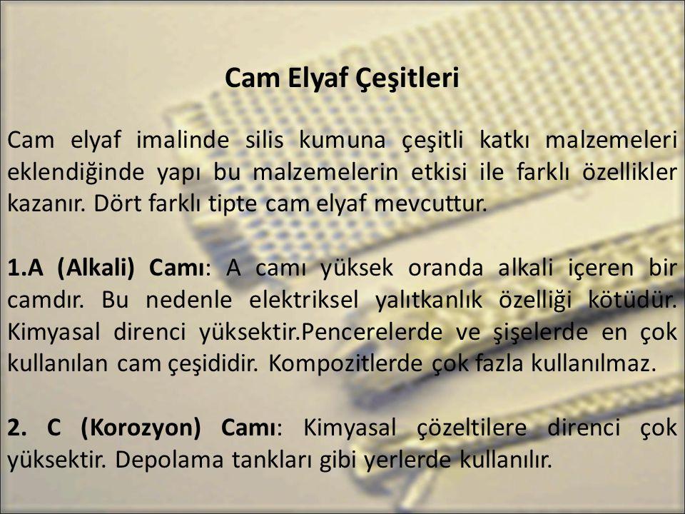 Cam Elyaf Çeşitleri Cam elyaf imalinde silis kumuna çeşitli katkı malzemeleri eklendiğinde yapı bu malzemelerin etkisi ile farklı özellikler kazanır.