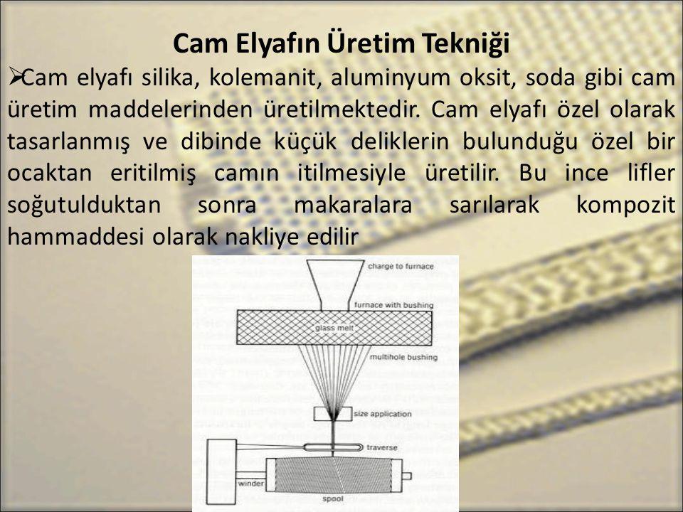 Cam Elyafın Üretim Tekniği  Cam elyafı silika, kolemanit, aluminyum oksit, soda gibi cam üretim maddelerinden üretilmektedir. Cam elyafı özel olarak