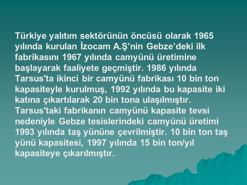 Türkiye yalıtım sektörünün öncüsü olarak 1965 yılında kurulan İzocam A.Ş'nin Gebze'deki ilk fabrikasını 1967 yılında camyünü üretimine başlayarak faal