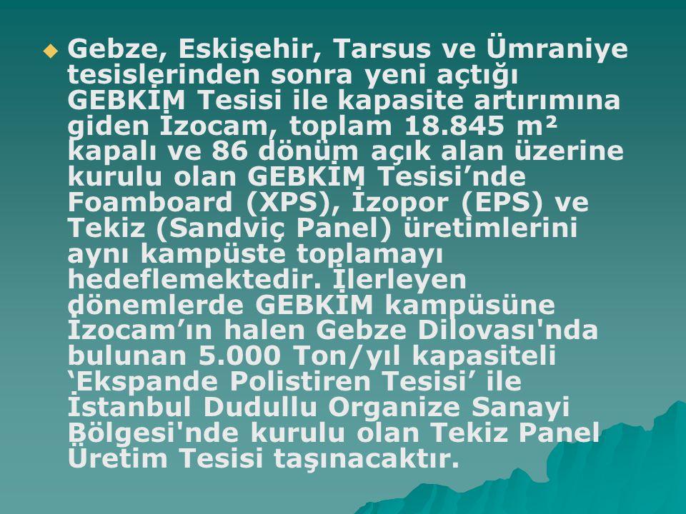   Gebze, Eskişehir, Tarsus ve Ümraniye tesislerinden sonra yeni açtığı GEBKİM Tesisi ile kapasite artırımına giden İzocam, toplam 18.845 m² kapalı v