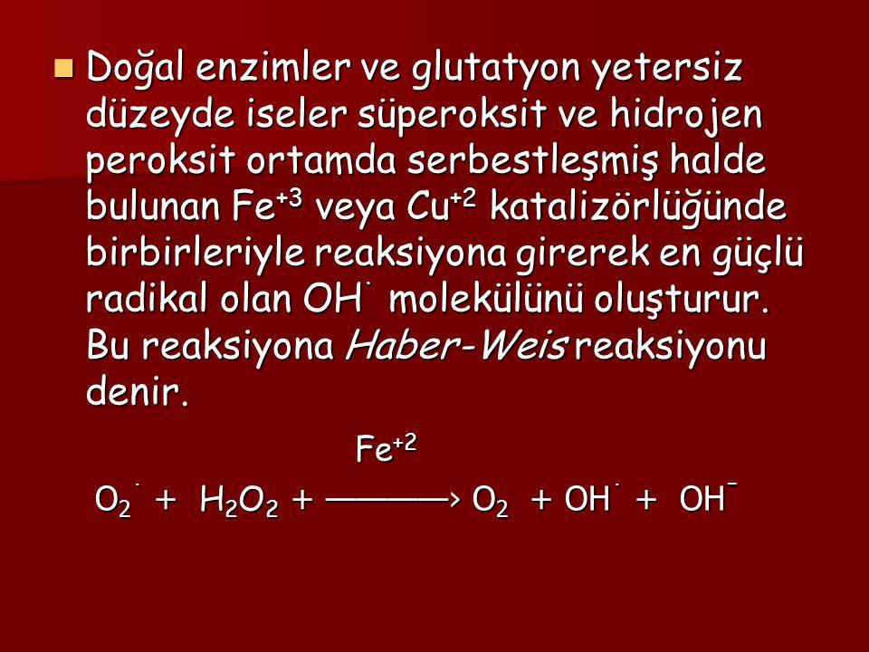 Doğal enzimler ve glutatyon yetersiz düzeyde iseler süperoksit ve hidrojen peroksit ortamda serbestleşmiş halde bulunan Fe +3 veya Cu +2 katalizörlüğü