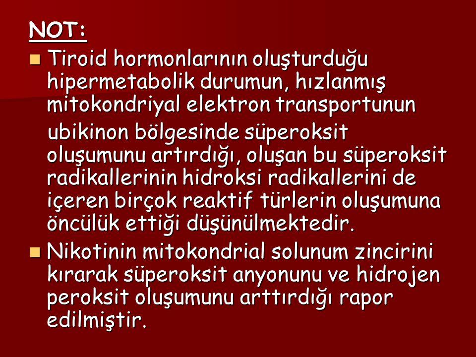 NOT: Tiroid hormonlarının oluşturduğu hipermetabolik durumun, hızlanmış mitokondriyal elektron transportunun Tiroid hormonlarının oluşturduğu hipermet