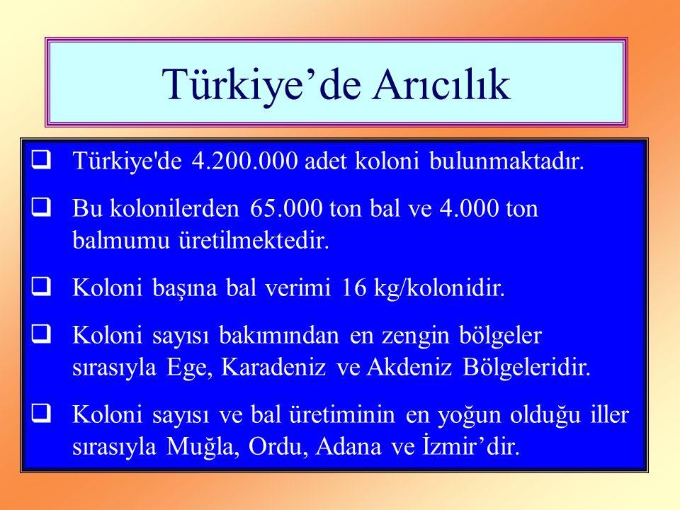 Türkiye'de Arıcılık  Türkiye'de 4.200.000 adet koloni bulunmaktadır.  Bu kolonilerden 65.000 ton bal ve 4.000 ton balmumu üretilmektedir.  Koloni b