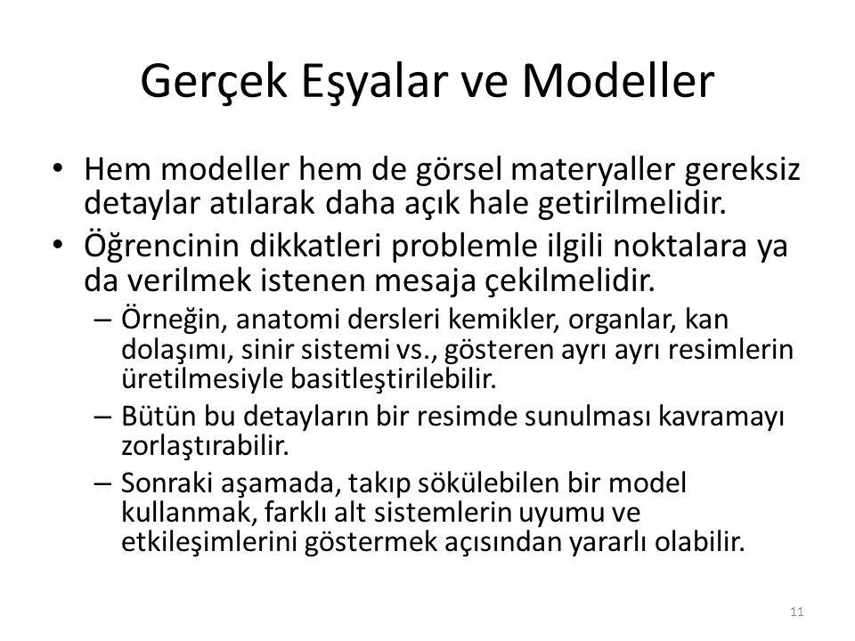Gerçek Eşyalar ve Modeller Hem modeller hem de görsel materyaller gereksiz detaylar atılarak daha açık hale getirilmelidir. Öğrencinin dikkatleri prob