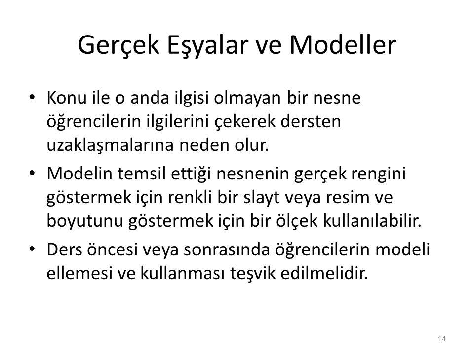 Gerçek Eşyalar ve Modeller Konu ile o anda ilgisi olmayan bir nesne öğrencilerin ilgilerini çekerek dersten uzaklaşmalarına neden olur. Modelin temsil