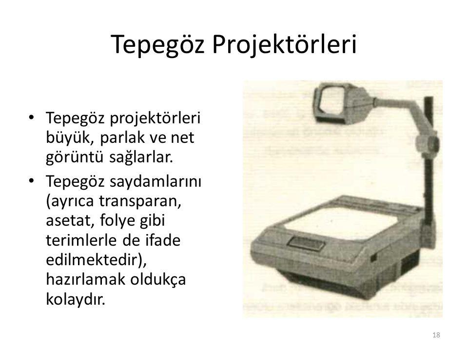 Tepegöz Projektörleri Tepegöz projektörleri büyük, parlak ve net görüntü sağlarlar. Tepegöz saydamlarını (ayrıca transparan, asetat, folye gibi teriml