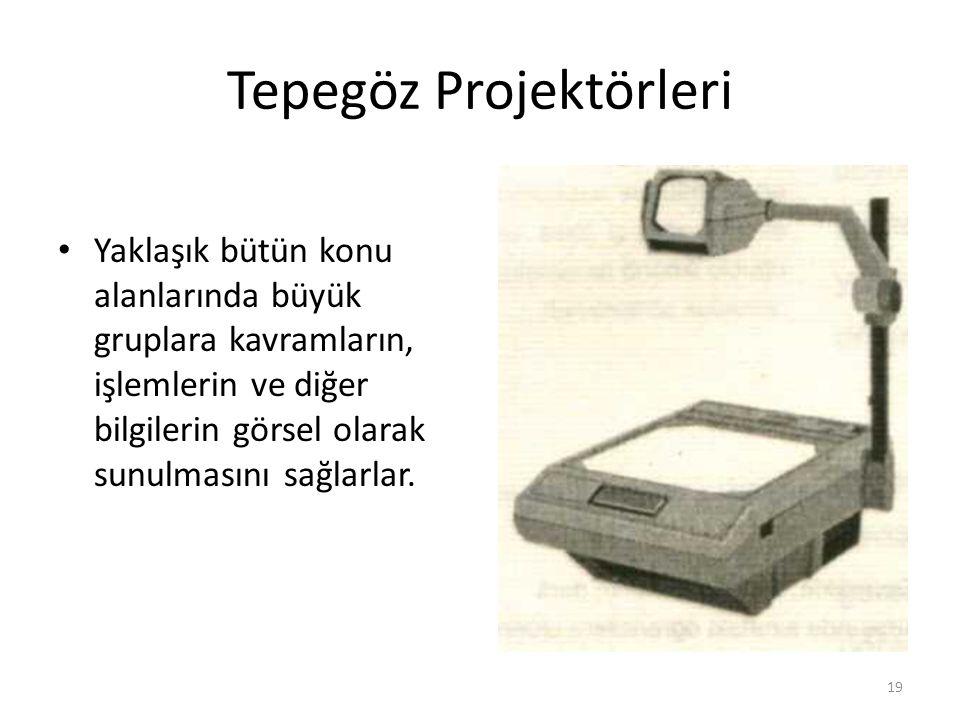 Tepegöz Projektörleri Yaklaşık bütün konu alanlarında büyük gruplara kavramların, işlemlerin ve diğer bilgilerin görsel olarak sunulmasını sağlarlar.
