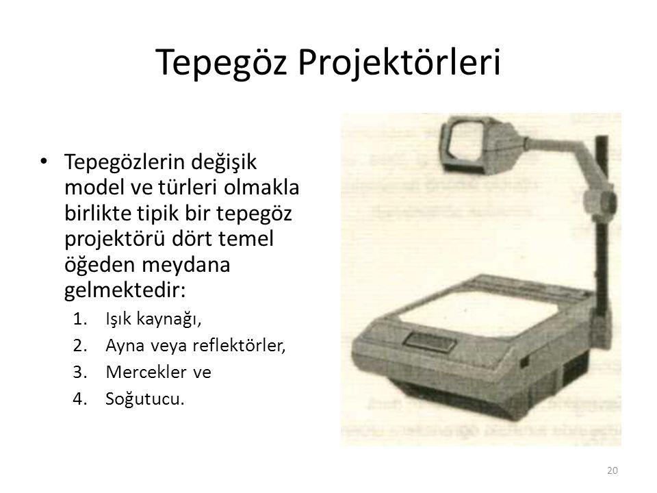Tepegöz Projektörleri Tepegözlerin değişik model ve türleri olmakla birlikte tipik bir tepegöz projektörü dört temel öğeden meydana gelmektedir: 1.Işık kaynağı, 2.Ayna veya reflektörler, 3.Mercekler ve 4.Soğutucu.