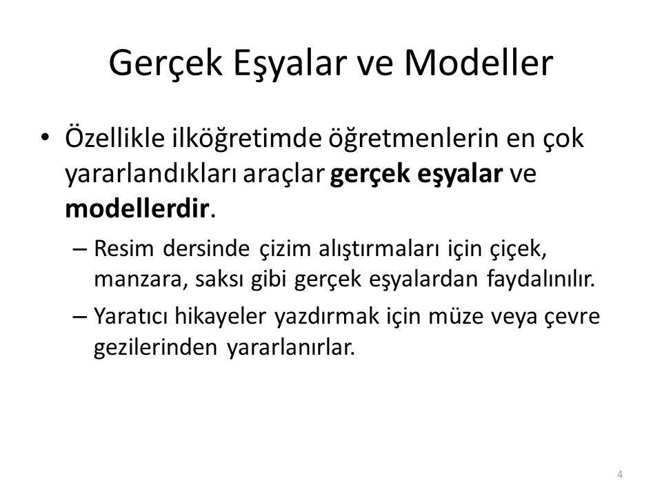 Gerçek Eşyalar ve Modeller Özellikle ilköğretimde öğretmenlerin en çok yararlandıkları araçlar gerçek eşyalar ve modellerdir.