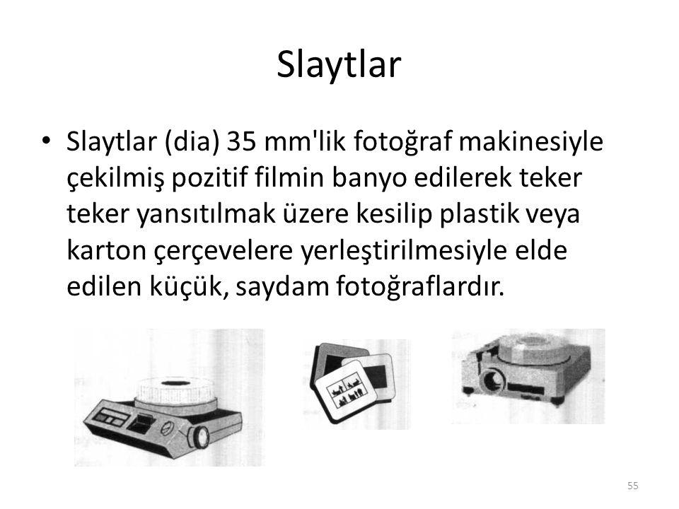 Slaytlar Slaytlar (dia) 35 mm lik fotoğraf makinesiyle çekilmiş pozitif filmin banyo edilerek teker teker yansıtılmak üzere kesilip plastik veya karton çerçevelere yerleştirilmesiyle elde edilen küçük, saydam fotoğraflardır.