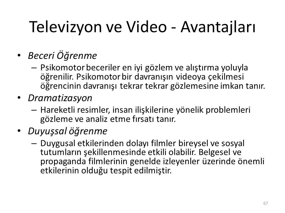 Televizyon ve Video - Avantajları Beceri Öğrenme – Psikomotor beceriler en iyi gözlem ve alıştırma yoluyla öğrenilir. Psikomotor bir davranışın videoy