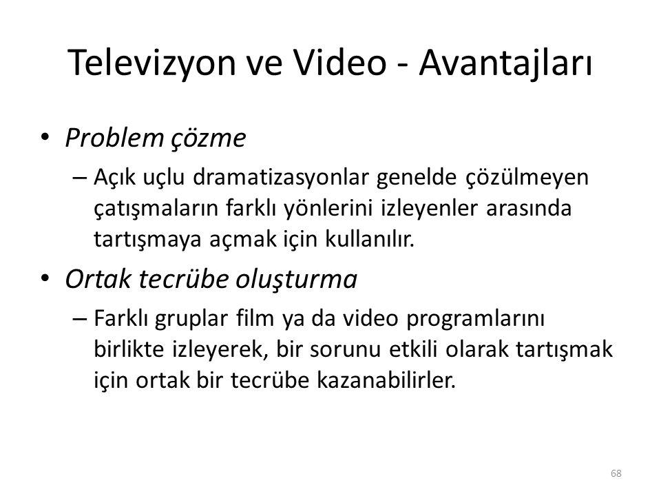 Televizyon ve Video - Avantajları Problem çözme – Açık uçlu dramatizasyonlar genelde çözülmeyen çatışmaların farklı yönlerini izleyenler arasında tart