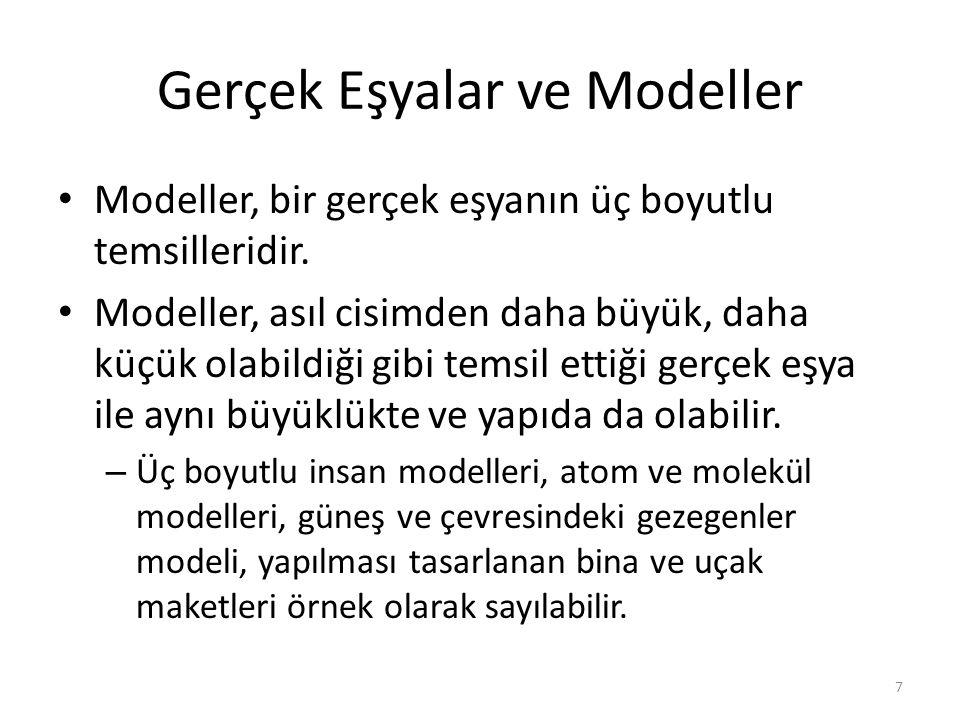 Modeller, bir gerçek eşyanın üç boyutlu temsilleridir. Modeller, asıl cisimden daha büyük, daha küçük olabildiği gibi temsil ettiği gerçek eşya ile ay