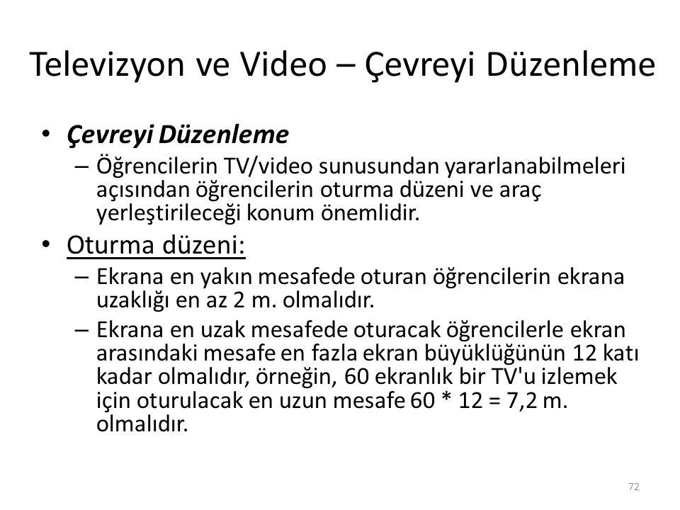 Televizyon ve Video – Çevreyi Düzenleme Çevreyi Düzenleme – Öğrencilerin TV/video sunusundan yararlanabilmeleri açısından öğrencilerin oturma düzeni v