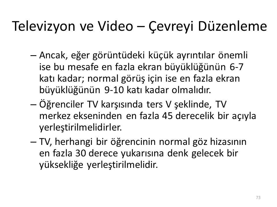 Televizyon ve Video – Çevreyi Düzenleme – Ancak, eğer görüntüdeki küçük ayrıntılar önemli ise bu mesafe en fazla ekran büyüklüğünün 6-7 katı kadar; normal görüş için ise en fazla ekran büyüklüğünün 9-10 katı kadar olmalıdır.